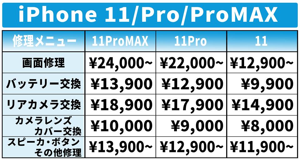 iPhone11 iPhone11Pro iPhone11ProMAX 修理 価格表