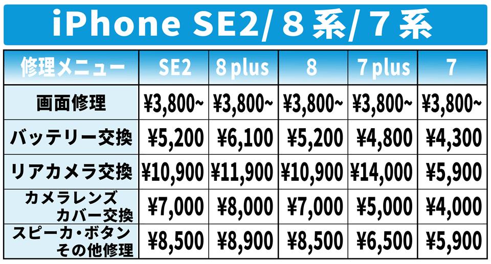 iPhoneSE2 iPhone8plus iPhone8 iPhone7plus iPhone7 修理 価格表